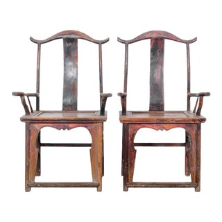 Antique Chinese Wooden Armchairs- a Pair For Sale