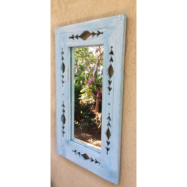 Blue Vintage Hand Carved Wood Mirror For Sale - Image 8 of 11