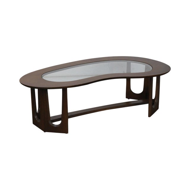 Mid-Century Boomerang Walnut & Glass Top Coffee Table