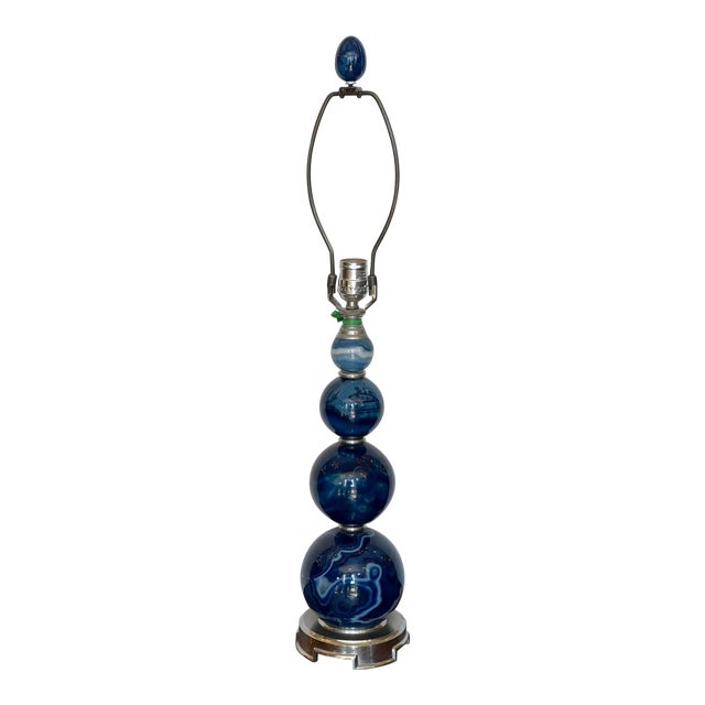 Modern Blue Banded Agate Orb Table Lamp For Sale