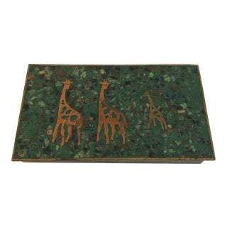 Mid Century Giraffe and Inlaid Stone Box