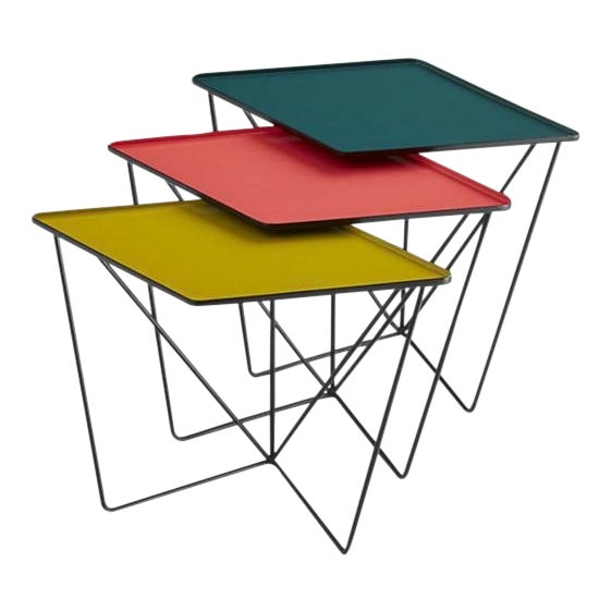 Modern CB2 Bright Colorful Nesting Tables - 3 Pieces For Sale