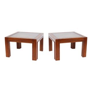 1970s Lou Hodges Style Oak End Tables With Checkerboard Cork Tops - a Pair For Sale