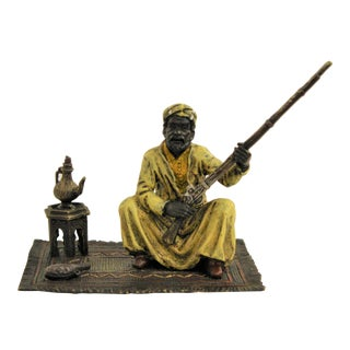 Bronze Sculpture of Arabian Soldier With Rifle by Franz Bergman For Sale