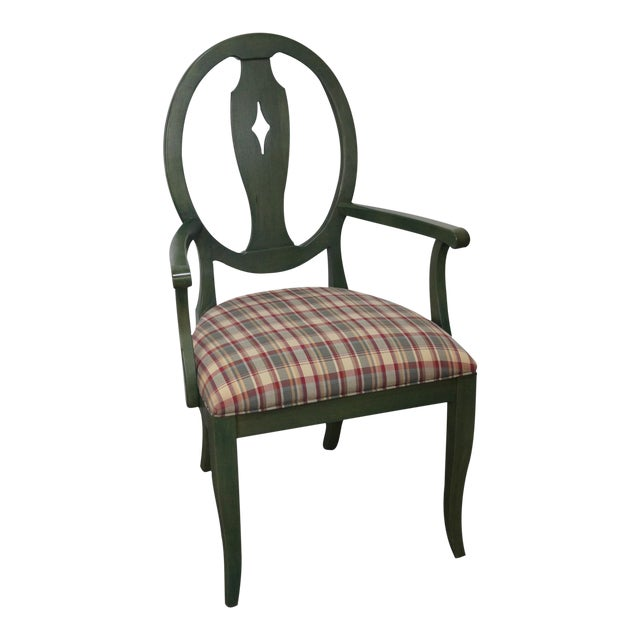 Ethan Allen Country Green Painted Arm Chair - Image 1 of 11