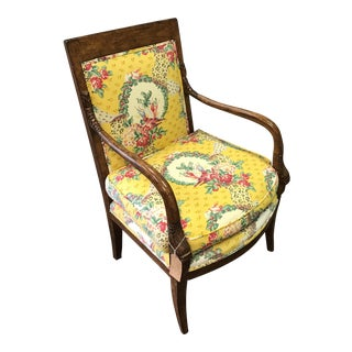 French Hand Carved Bergere Upholstered Arm Chair For Sale