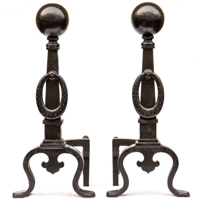 Pair of large-scale cast iron andirons or firedogs by Bradley & Hubbard, from the Arts and Crafts Movement, c. 1890s. Each...