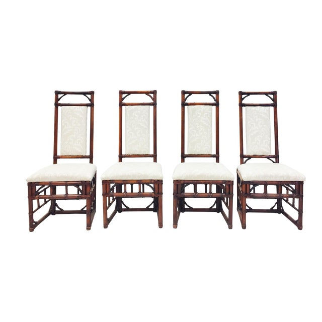 Vintage Bamboo & Rattan Dining Chairs - Set of 4 - Image 1 of 11