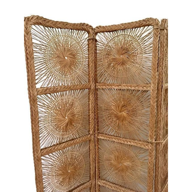 Mid Century Modern Rattan Folding Screen 3 Panel Room Divider Boho Headboard For Sale - Image 9 of 11