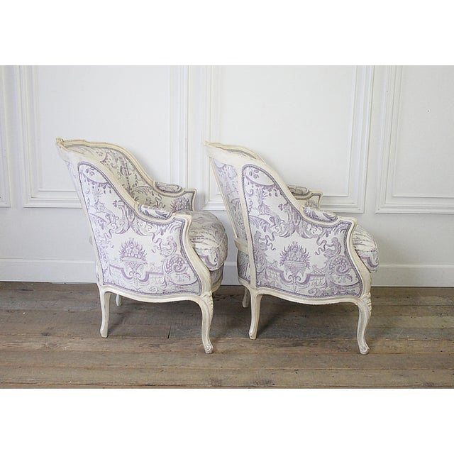Mid 20th Century Vintage 20th Century Painted French Louis XV Style Bergere Chairs- A Pair For Sale - Image 5 of 13