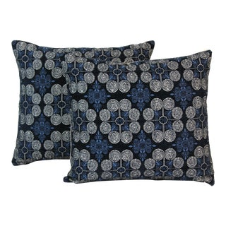 Navy Blue Pillow, Geometric Pillows, Chenille Pillows, Cream Pillows For Sale