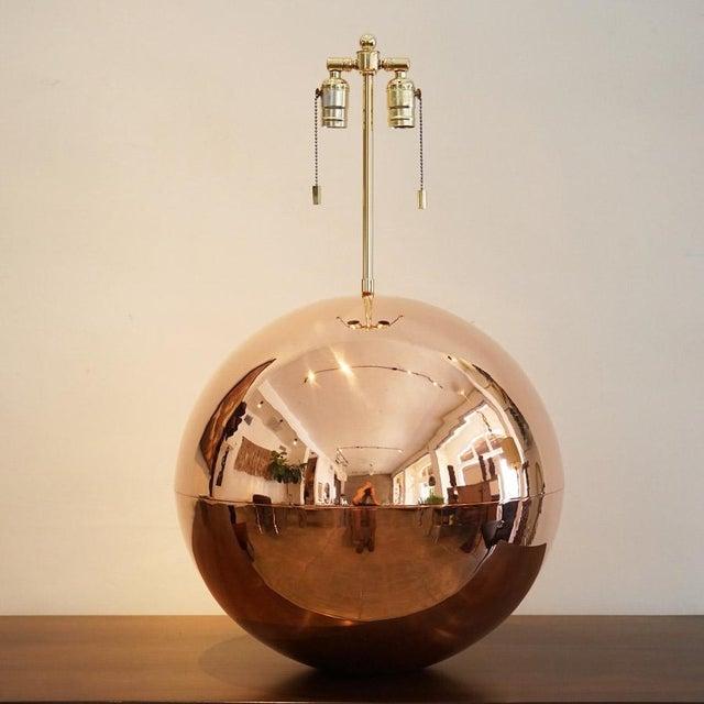 Karl Springer 1970s Karl Springer Copper Orb Table Lamp For Sale - Image 4 of 7