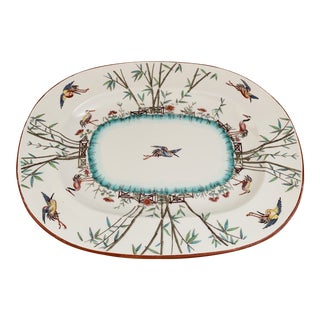 Antique English Aesthetic Minton Chinoiserie Bamboo and Crane Platter For Sale