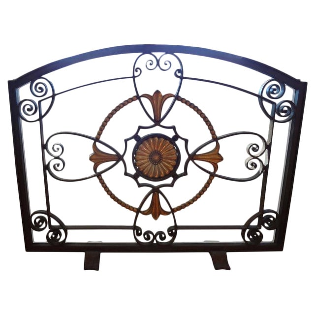 French Art Deco Wrought Iron Fireplace Screen by Szabo For Sale