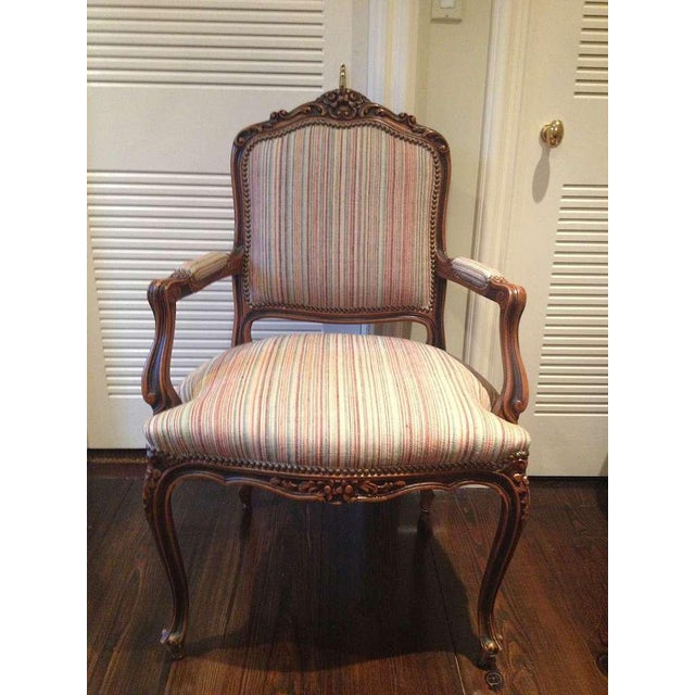 1950s Pair of French Walnut Upholstered Armchairs For Sale - Image 5 of 10