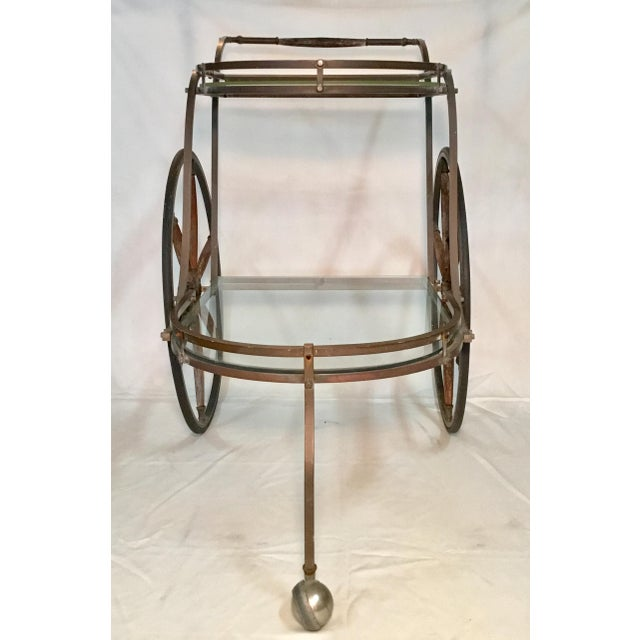 1950s Bronze and Glass Bar Cart With Wooden Spoked Wheels For Sale - Image 12 of 13