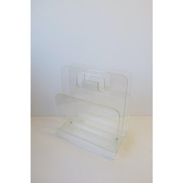 1970s Clear Acrylic Magazine Holder, Circa 1976 For Sale - Image 5 of 13