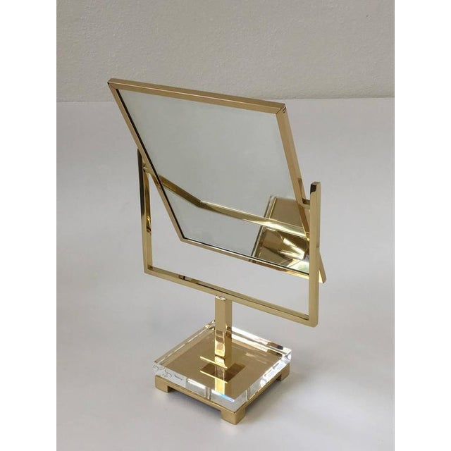 Charles Hollis Jones Polished Brass and Acrylic Vanity Mirror by Charles Hollis Jones For Sale - Image 4 of 8