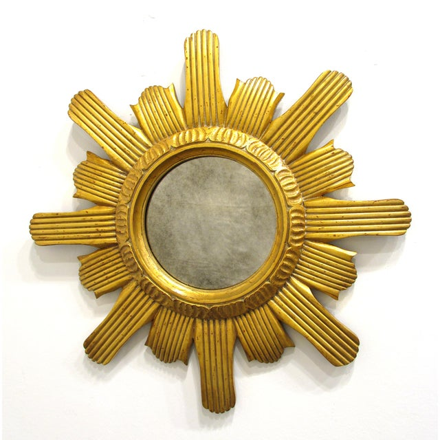 Sunburst Carved Wood Mirror - Image 2 of 6