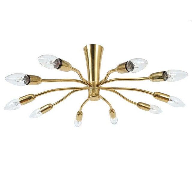 Brass J.T Kalmar Brass Sputnik Scorpio Chandelier Ceiling Lamp Light, 1950 For Sale - Image 7 of 7