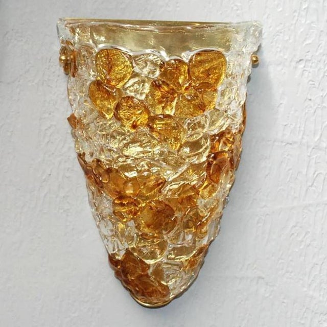 Italian Clear Glass Driveway: Vintage Italian Clear & Amber Murano Glass Pebbled Sconces