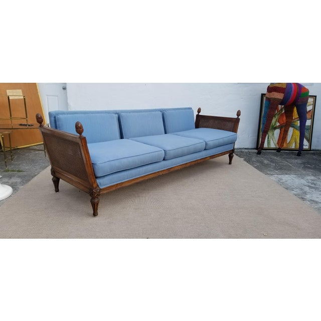 Vintage Hollywood Regency Carved Wood with Blue Fabric Sofa For Sale - Image 4 of 13