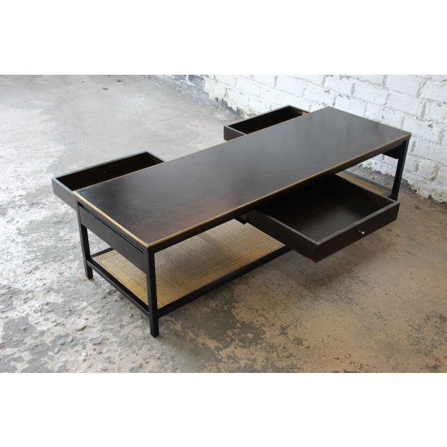 mid 20th century paul mccobb for calvin irwin collection double sided leather top - Leather Top Coffee Table