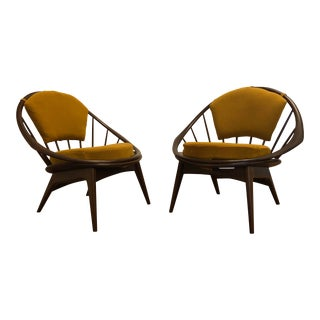 Ib Kofod Larsen for Selig Mid-Century Peacock Lounge Chairs - a Pair