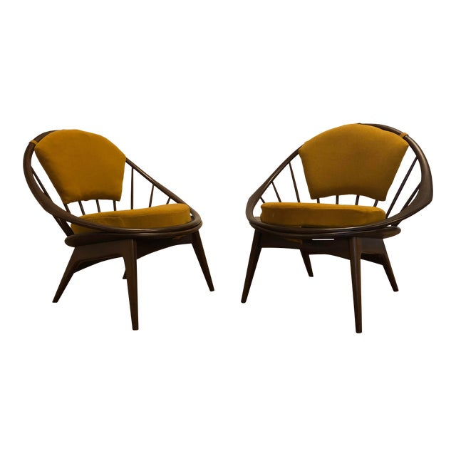 Ib Kofod Larsen for Selig Mid-Century Peacock Lounge Chairs - a Pair For Sale