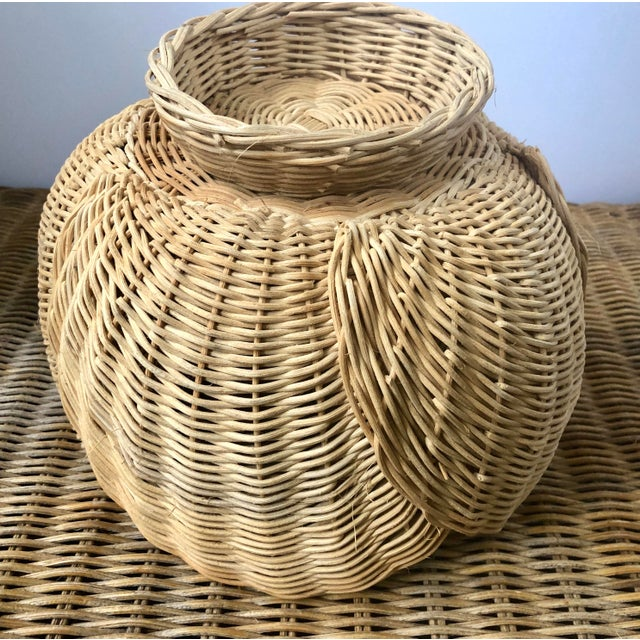 Wicker Floriform Structural Natural Woven Wicker Basket Bowl For Sale - Image 7 of 10