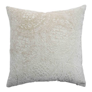 Modern Italian Firma Menta Cream Lace Linen Velvet Pillow For Sale
