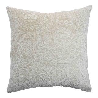 Modern Italian FirmaMenta Cream Lace Linen Velvet Pillow For Sale