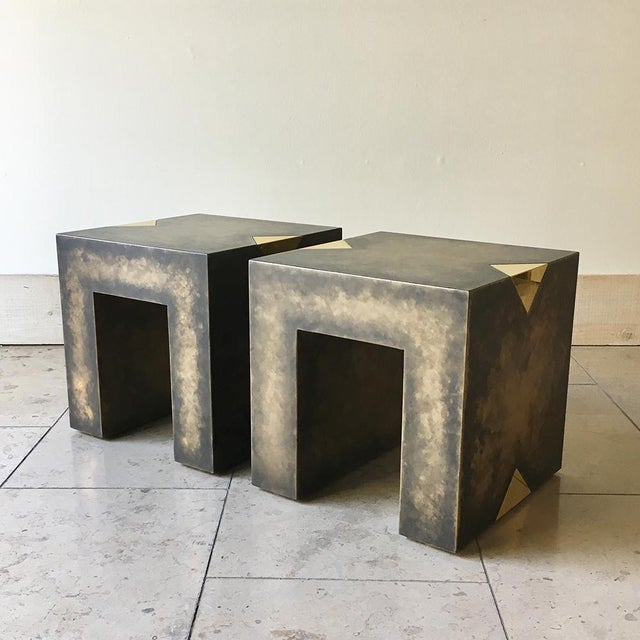 Mid-Century Modern Pair of Square Bronze Collection Side Tables by Talisman Bespoke For Sale - Image 3 of 10