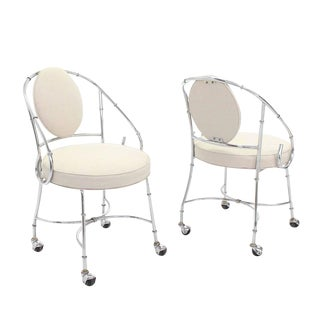 Faux Bamboo Chrome Fireside Lounge Chairs - a Pair For Sale