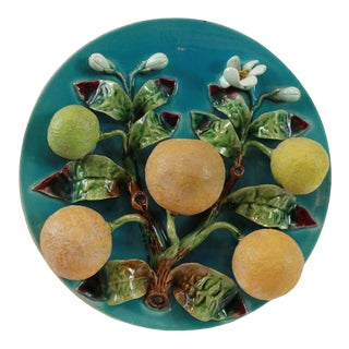 Menton French Majolica Wall Plaque on a Turquoise Ground With Oranges, Ca. 1880 For Sale