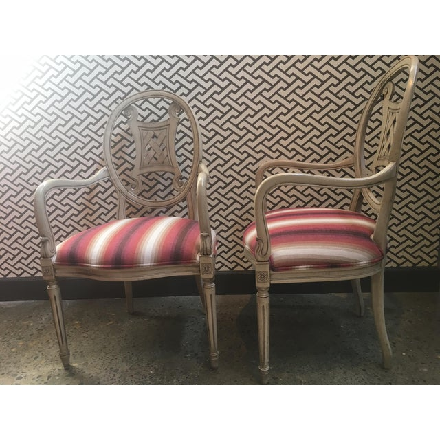 Contemporary Upholstered Gustavian Chairs - A Pair For Sale - Image 3 of 5