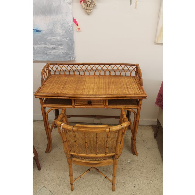 Rattan Desk and Bamboo Chair Set - Image 3 of 5