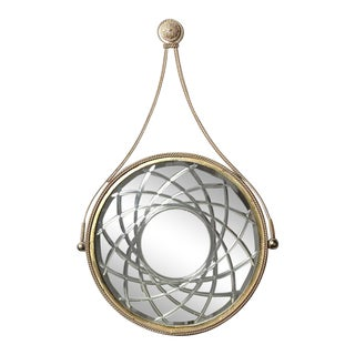 Hollywood Regency Style Round Wall Mirror in Silver and Gilt For Sale
