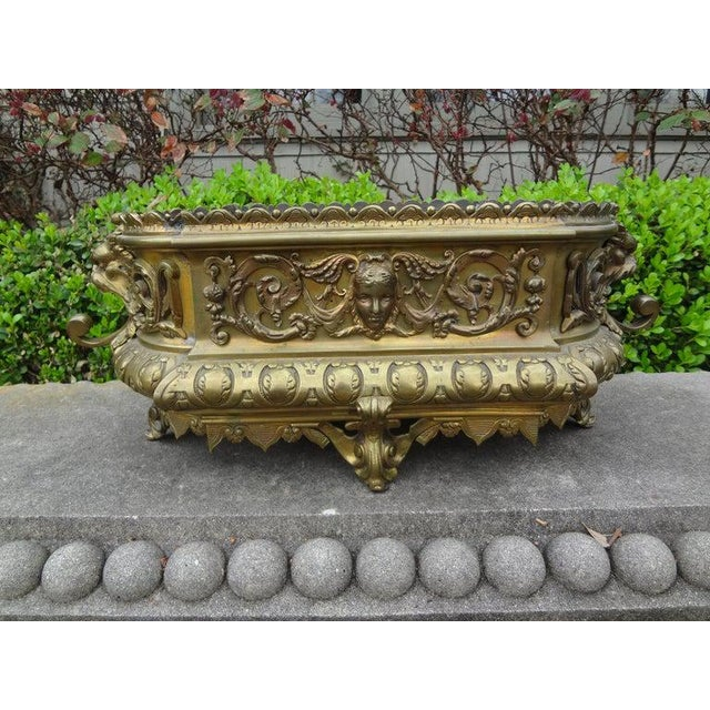 Brass 19th Century French Napoleon III Brass Jardiniere or Planater For Sale - Image 8 of 11