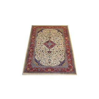 "Persian Tan & Red Sarouk Rug - 4'8"" x 6'9"""