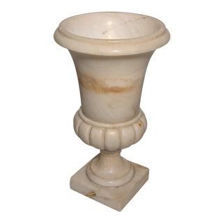 1920s Italian Art Nouveau Carved Alabaster Urn Uplighter Lamp For Sale