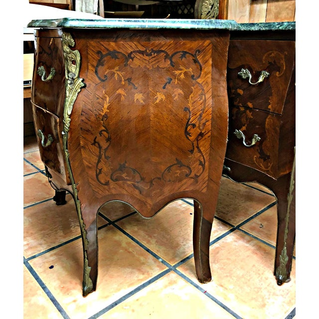 Mid 20th Century French Marquetry Inlay and Marble Top Commodes - a Pair For Sale - Image 5 of 13