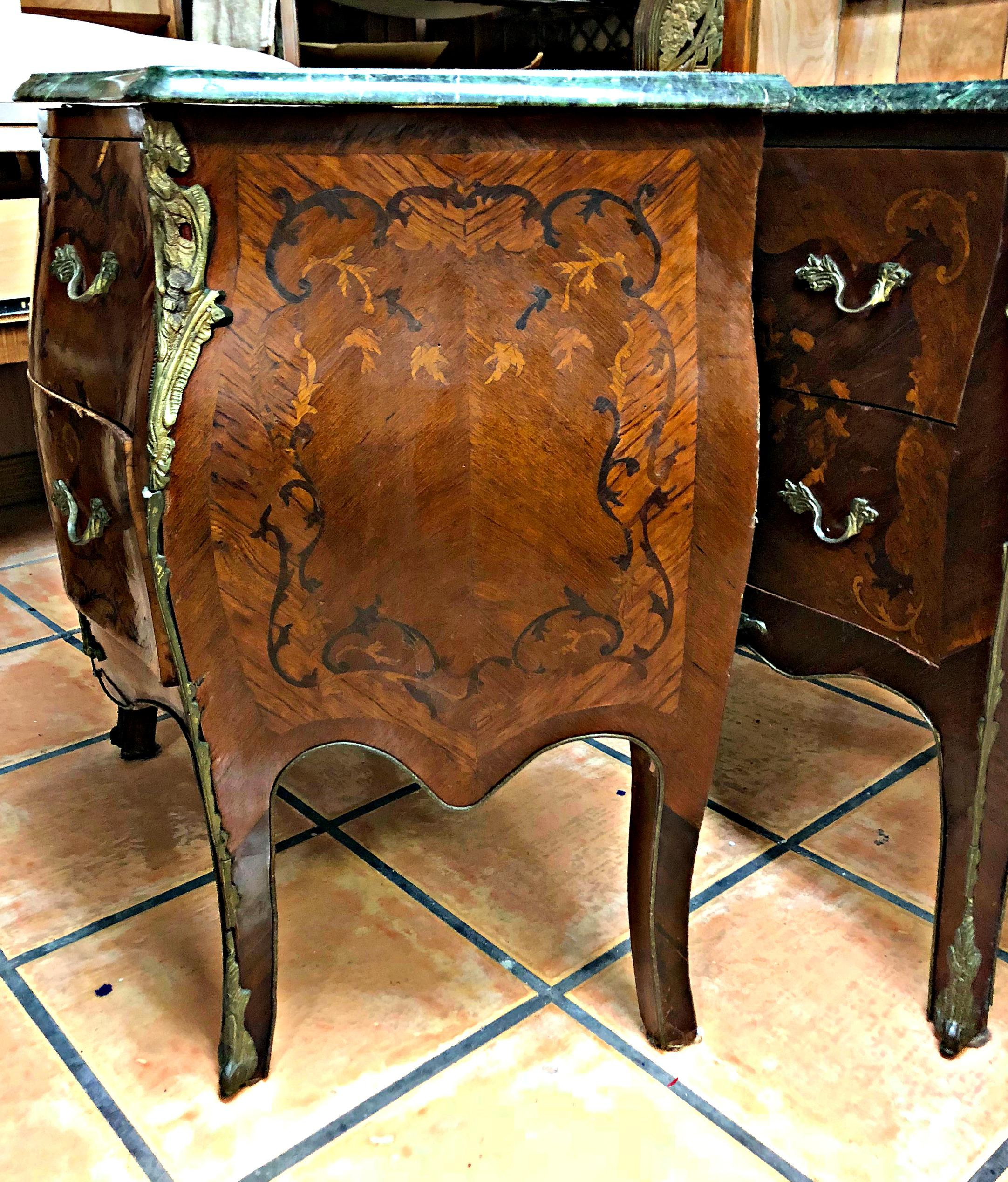 Mid 20th Century French Marquetry Inlay And Marble Top Commodes   A Pair  For Sale