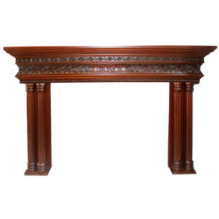 Traditional Elegant Wood Mantelpiece For Sale