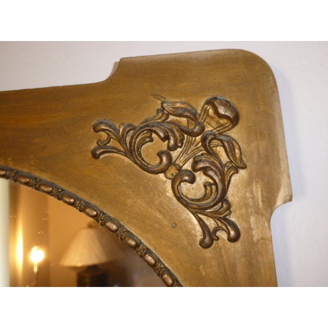Gold Antique Victorian Style Gold Gilt Floral Carved Wood Wall Mirror For Sale - Image 8 of 11