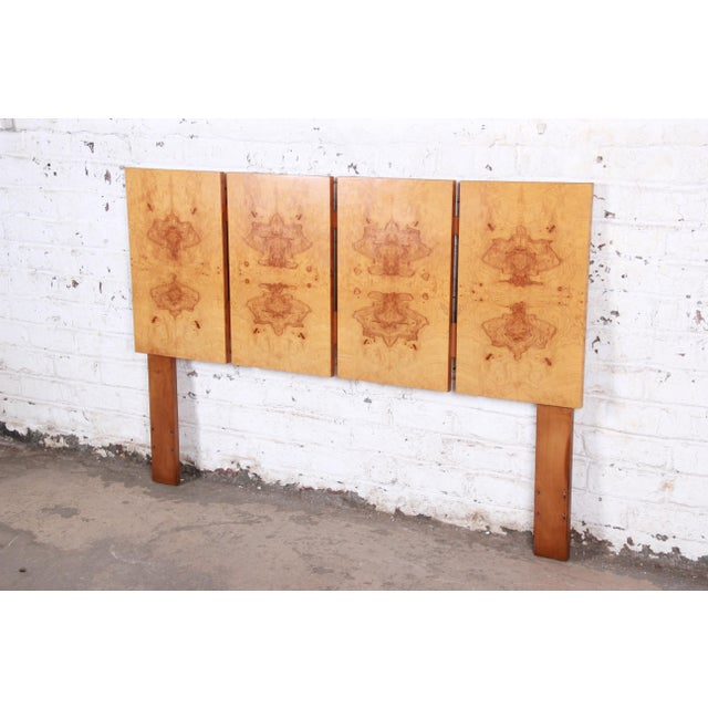A gorgeous Milo Baughman style mid-century modern burl wood queen size headboard By Lane Furniture USA, Circa 1970s Book-...