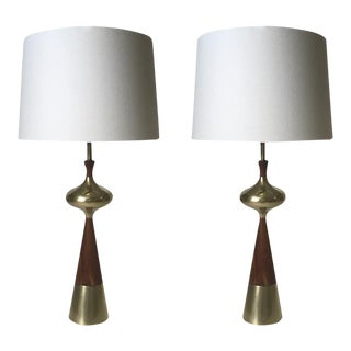 Pair of Mid-Century Modern Tony Paul Walnut and Brass Sculptural Lamps