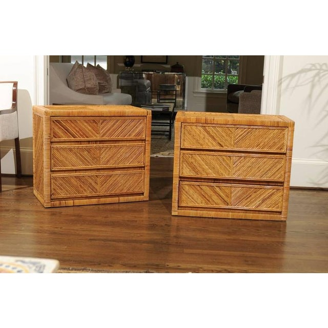 Incredible Pair of Restored Vintage Cane and Reed Bamboo Small Chests For Sale - Image 10 of 11