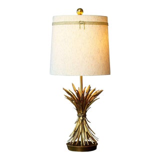 Sheaf of Wheat Gilt Metal Table Lamp by Mabro With Shade For Sale