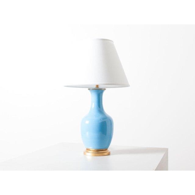 Contemporary Turquoise Crackle Lamp For Sale - Image 6 of 6